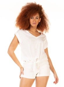 DEX CLOTHING LADIES TIE FRONT SLUB CREAM TSHIRT