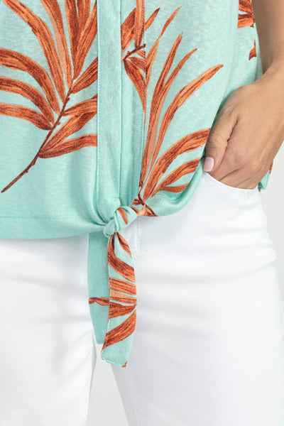 TRIBAL LADIES MINT TROPICAL SLUB KNIT TOP WITH TIE