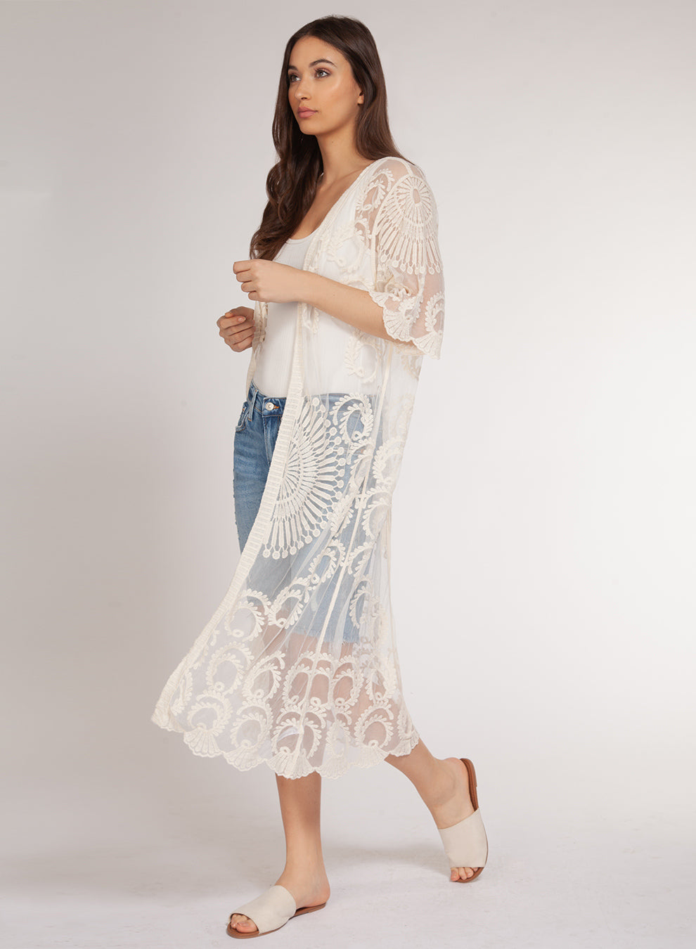 DEX CLOTHING LADIES EMBROIDERED MIESH IVORY KIMONO