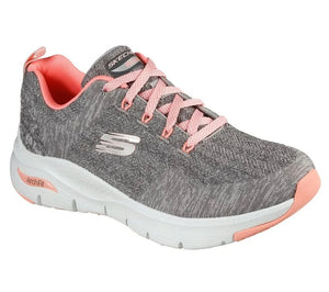 SKECHERS LADIES ARCHFIT COMFY WAVE GREY/PINK RUNNING SHOE