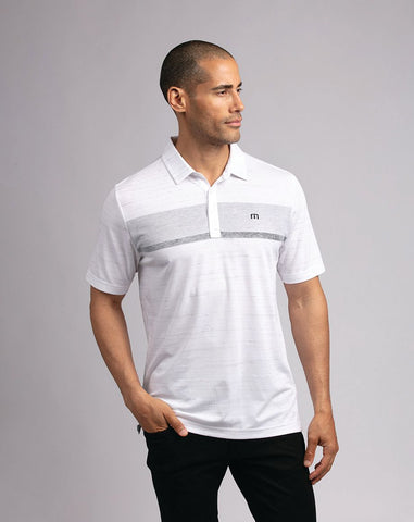 TRAVIS MATHEW MENS THERE ARE RULES WHITE GOLF SHIRT
