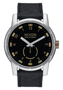 NIXON PATRIOT LEATHER BLACK/BRASS WATCH
