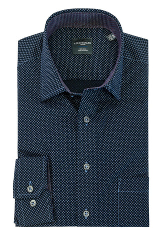 LEO CHEVALIER MENS LS 100% COTTON NON IRON NAVY PRINT SHIRT
