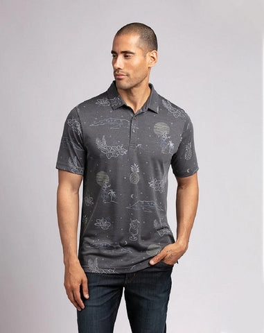 TRAVIS MATHEW MENS DAY MAN HEATHER QUIET SHADE GOLF SHIRT