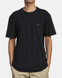 RVCA MENS DAYSHIRT SOLO LABEL BLACK TSHIRT