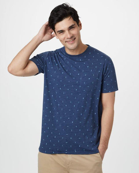 TEN TREE MENS TREE PRINT CLASSIC DARK OCEAN BLUE HEATHER TSHIRT