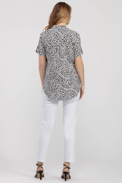 TRIBAL LADIES PRINTED ONYX SS TOP