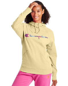 CHAMPION LADIES POWERBLEND CLASSIC WATERCOLOUR MELTED BUTTER YELLOW HOODIE