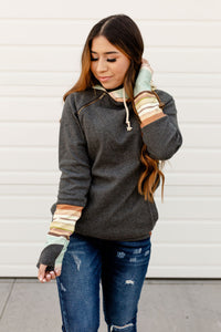 AMPERSAND AVE LADIES BEACH DAZE GREY STRIPE DOUBLEHOOD HOODIE