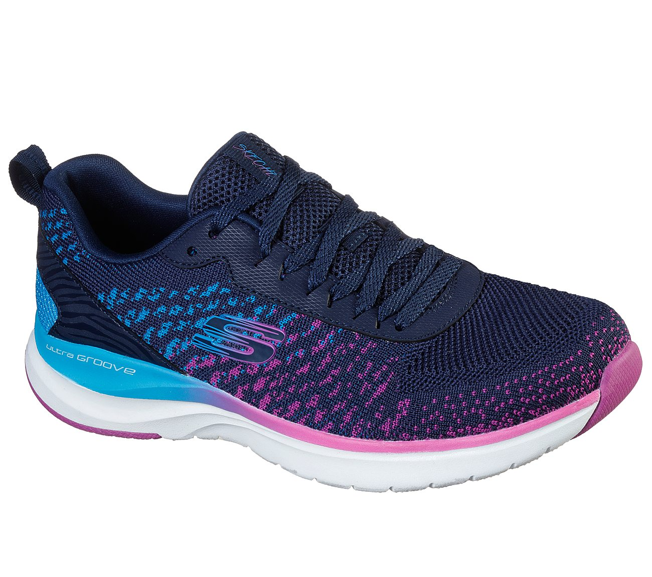 SKECHERS LADIES ULTRA GROOVE-GLAMOUR NAVY/MULTI SHOE
