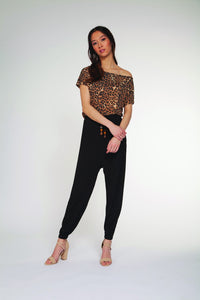 DEX CLOTHING LADIES CHEETAH PRINT SS TOP