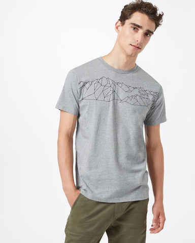 TEN TREE MENS GEO MOUNTAIN CLASSIC HEATHER GREY TSHIRT