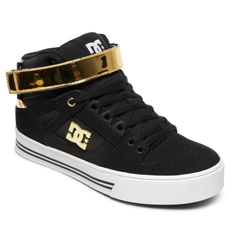 DC LADIES PURE HIGH-TOP V BLACK/GOLD SHOE