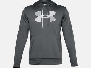 UNDER ARMOUR MENS ARMOUR FLEECE BIG LOGO PITCH GREY HOODIE