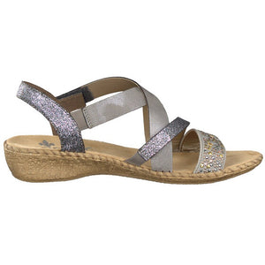 RIEKER LADIES 61663-42 GREY SANDAL