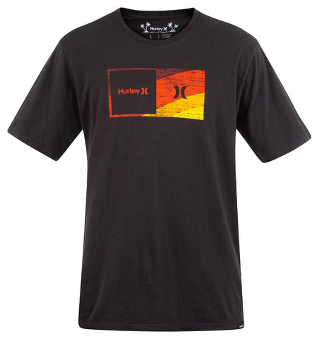 HURLEY MENS EVERYDAY WASHED HALFER SWAMIS BLACK TSHIRT