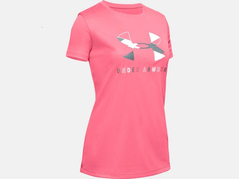 UNDER ARMOUR YOUTH GIRLS TECH GRAPHIC BL ECLECTIC PINK TSHIRT