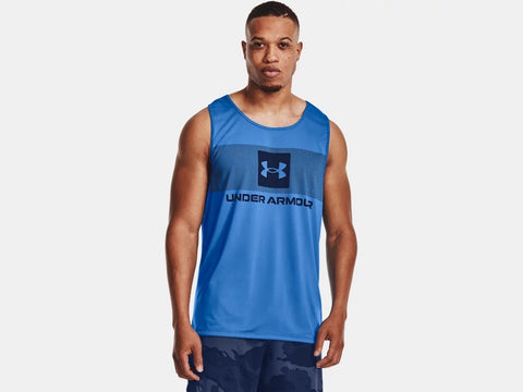 UNDER ARMOUR MENS TECH GRAPHIC BRILLIANT BLUE TANK