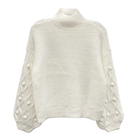 RD INTERNATIONAL LADIES KNOT WINTER WHITE SWEATER