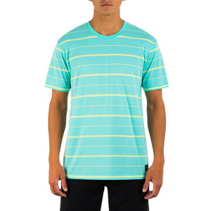 HURLEY MENS H20 DRI HARVEY STRIPE TROPICAL TWIST TSHIRT