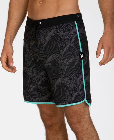 "HURLEY MENS PHANTOM WAVES 18"" BLACK BOARDSHORT"