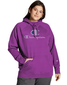 CHAMPION LADIES PLUS POWERBLEND SCRIPT & C LOGO FLASHY MAGNETA HOODIE