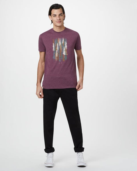 TEN TREE MENS SPRUCED UP MERLOT RED HEATHER TSHIRT