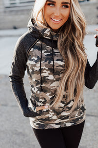 AMPERSAND AVE LADIES DOUBLEHOOD CAMO ACCENT HOODIE