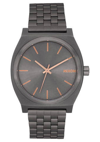 NIXON TIME TELLER ALL GUNMETAL/ROSE GOLD WATCH