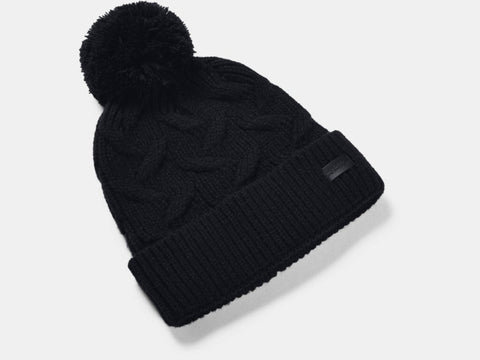 UNDER ARMOUR LADIES AROUND TOWN POM BLACK BEANIE