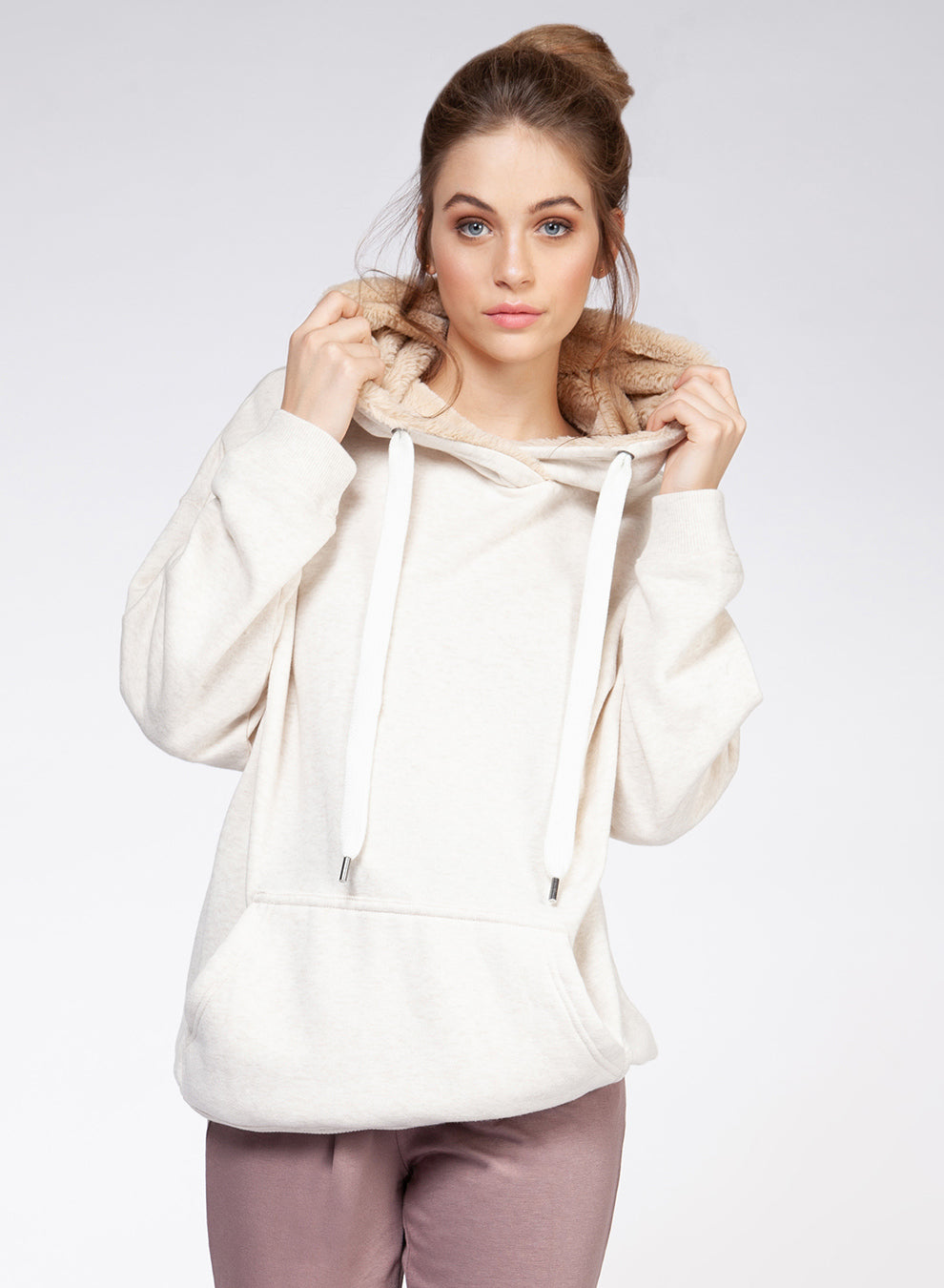 DEX CLOTHING LADIES HOODIE W/FAUX FUR LINING HEATHER HOODIE