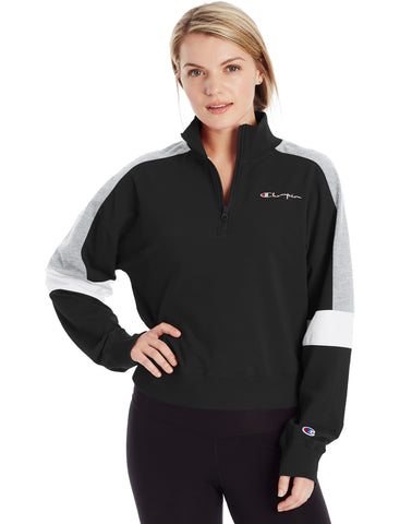 CHAMPION LADIES CAMPUS 1/4ZIP W/TAPING BLACK SWEATER