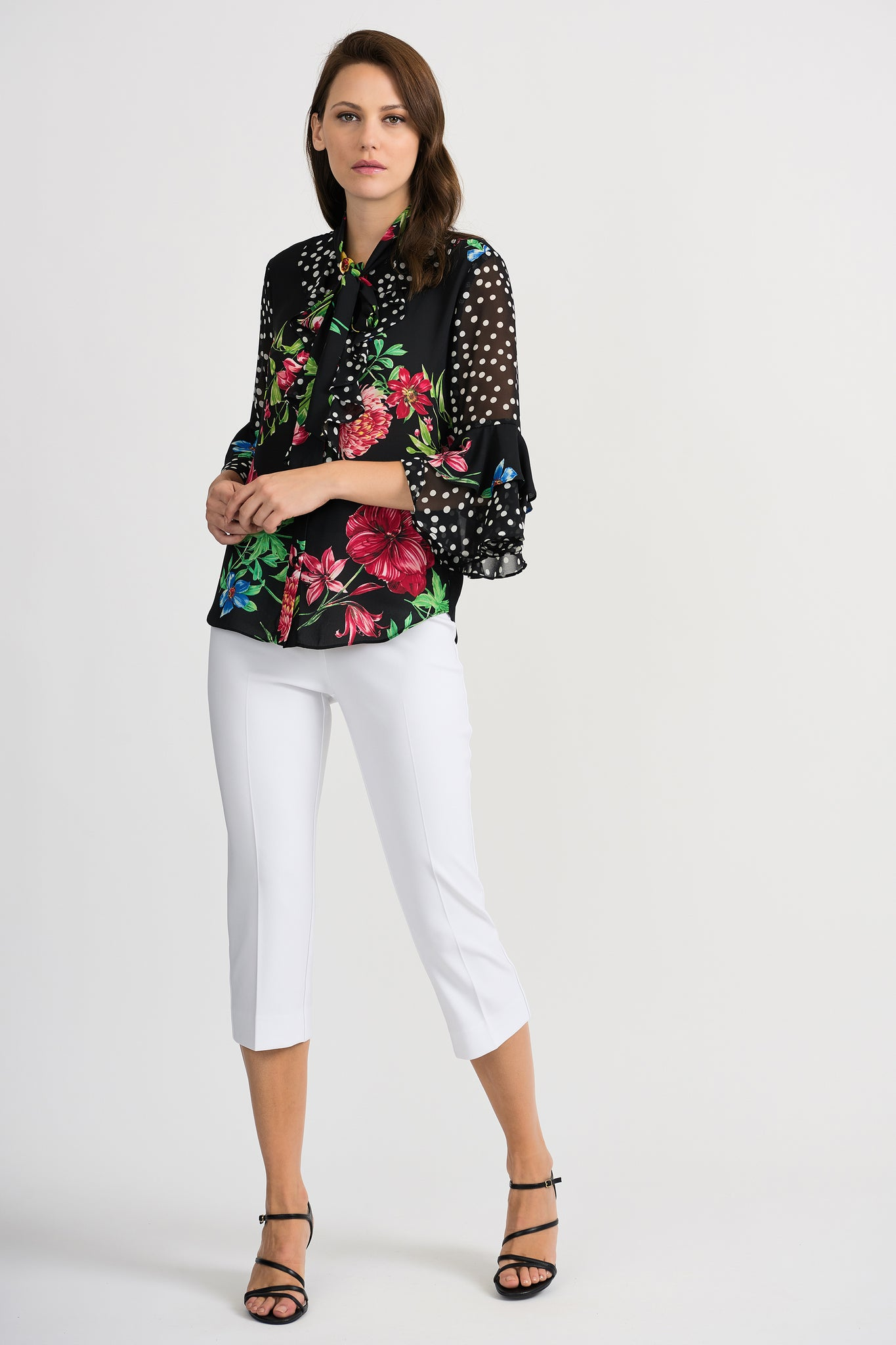 JOSEPH RIBKOFF LADIES BLACK MULTI FLORAL LS TOP