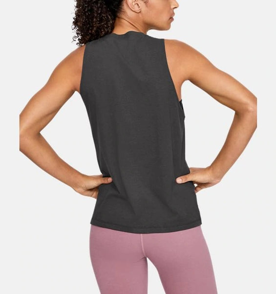 UNDER ARMOUR LADIES GRAPHIC JET GREY MUSCLE TANK
