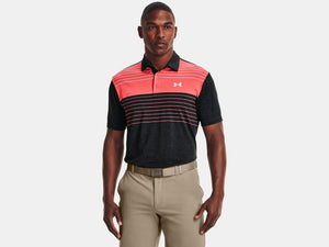 UNDER ARMOUR MENS PLAYOFF BLACK/PINK GOLF SHIRT