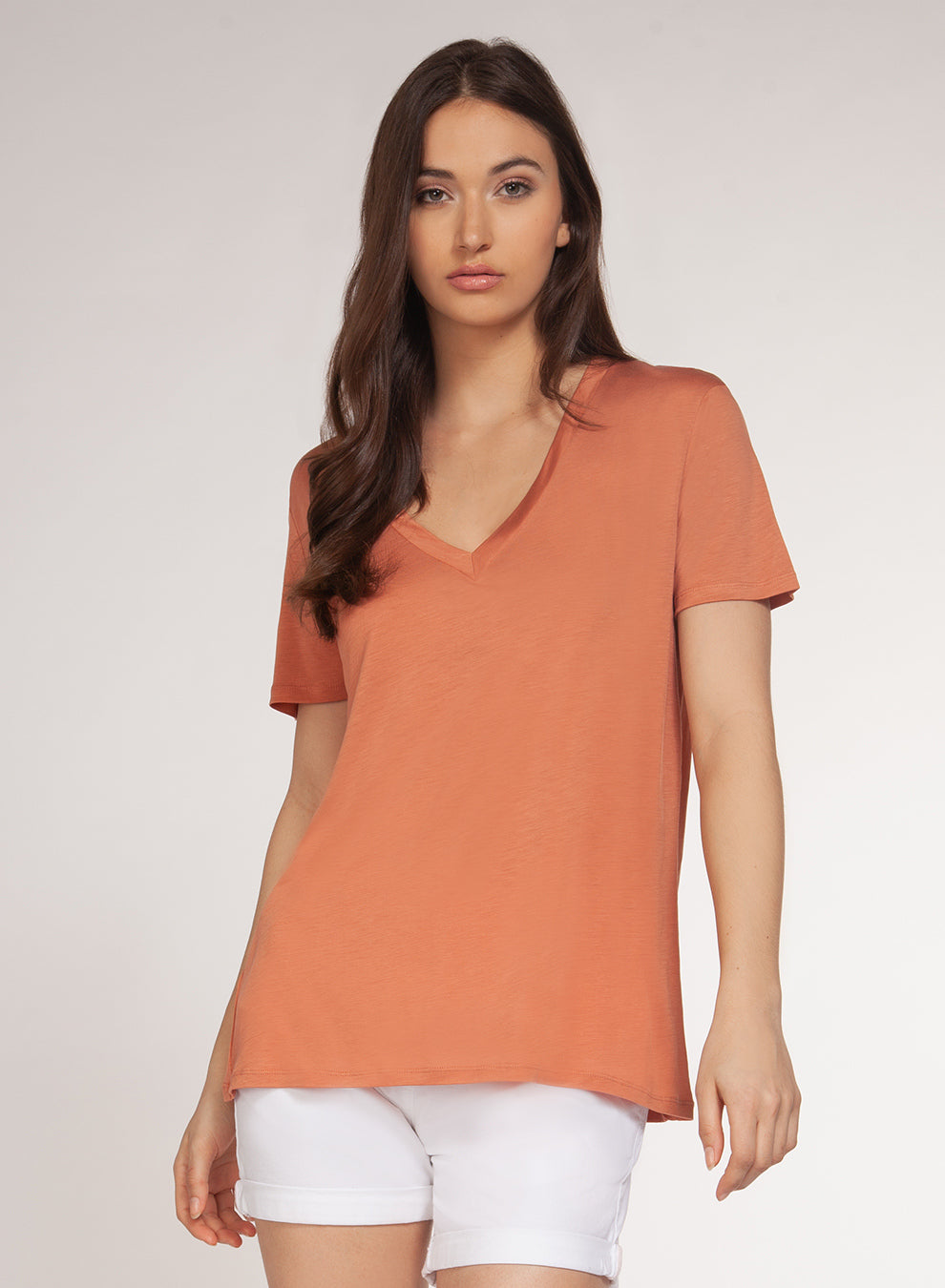 DEX CLOTHING LADIES V-NECK CORAL SS TOP