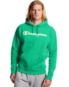 CHAMPION MENS SATIN STITCH LOGO POWERBLEND GREEN MYTH HOODIE