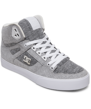 DC MENS PURE HIGH TOP WC TX SE GREY/GREY/ WHITE SHOE