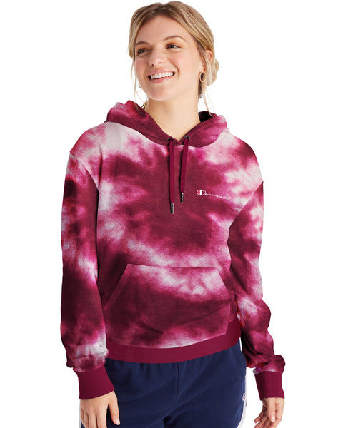 CHAMPION LADIES CAMPUS FRENCH TERRY CLOUD BURST HUSH PINK HOODIE