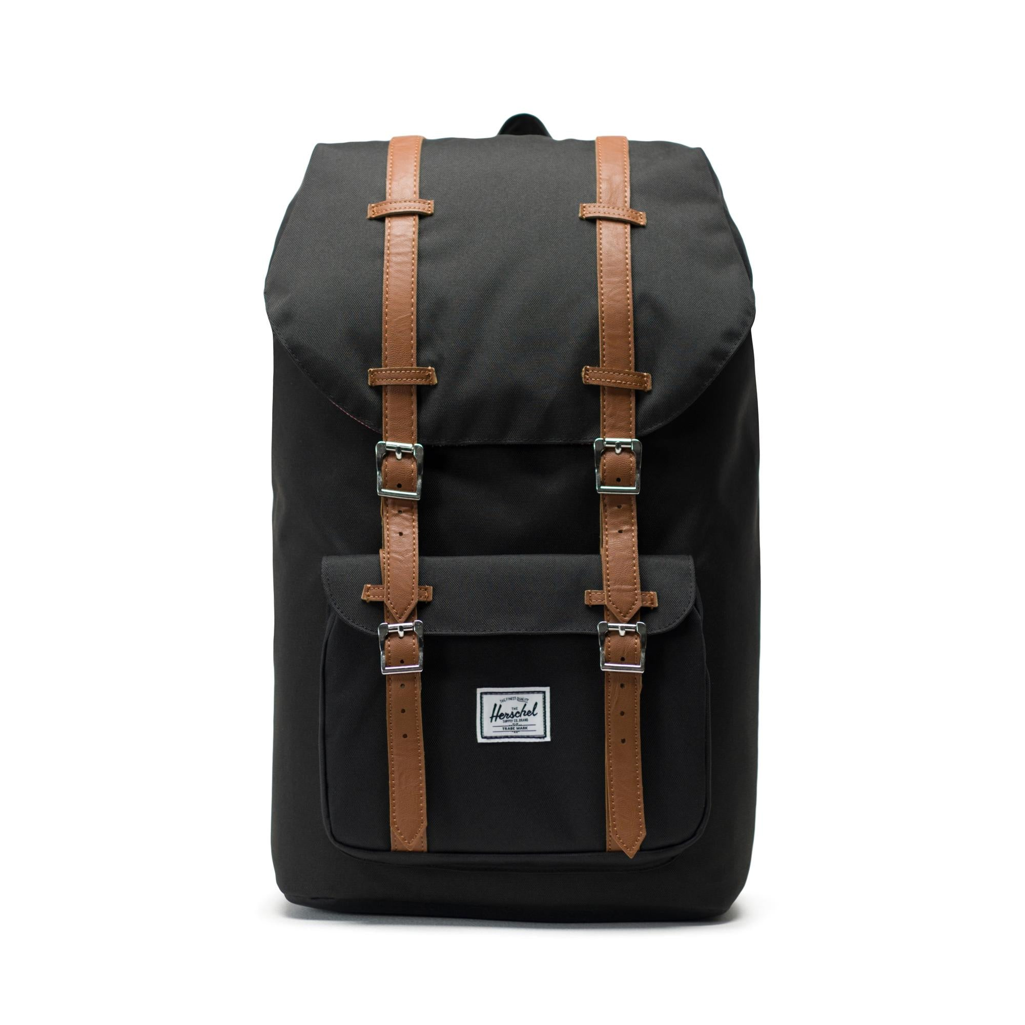HERSCHEL LITTLE AMERICA BLACK/TAN SYNTHETIC LEATHER BACKPACK