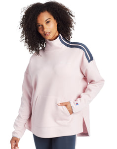 CHAMPION LADIES SPORT MOCK NECK HUSH PINK/VERGLAS PULLOVER