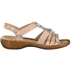 RIEKER LADIES 60855-31 ROSE SANDAL