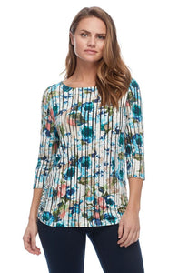 FDJ LADIES VERTICAL STRIPE FLORAL BOAT NECK MULTI TOP