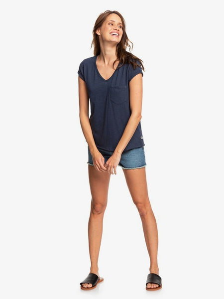 ROXY LADIES PERFECT KIND OF SESSION MOOD INDIGO VNECK TSHIRT