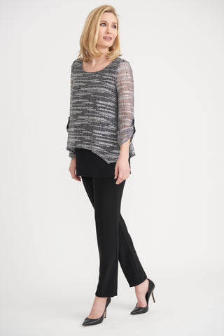 JOSEPH RIBKOFF LADIES LS BLACK/SILVER TOP