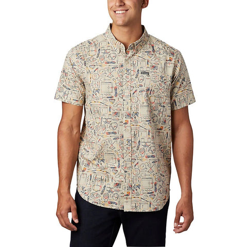COLUMBIA MENS RAPID RIVERS FOSSIL CAMP SUPPLIES SS SHIRT