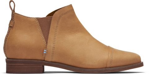 TOMS LADIES REESE LIGHT TAN SMOOTH WAXY LEATHER BOOTS