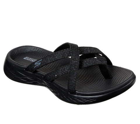SKECHERS LADIES ON-THE-GO DAINTY CHARCOAL SANDAL