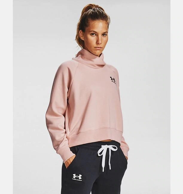 UNDER ARMOUR LADIES RIVAL FLEECE WRAP NECK DESERT ROSE HOODIE