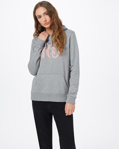 TEN TREE LADIES TEN CLASSIC HEATHER GREY/MISTY ROSE PINK LOGO HOODIE